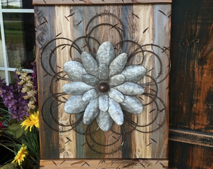 FLOWER Rustic Sign MED BLUE Green Reclaimed Shutter Barn Wood Distressed Industrial Outdoor Metal Flowers Large