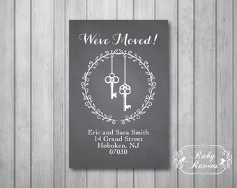 Change of Address, New Address Cards, printable address card, rustic chalkboard address card, moving card, new home card