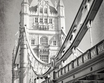 London Photography, black and white, Tower Bridge, London Bridge, Fine Art Print, Lonodon Decor, Architecture, Vertical, Wall Art
