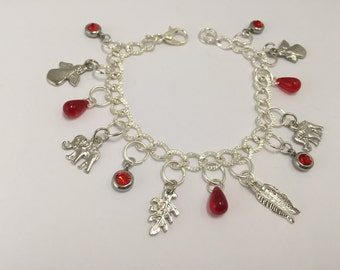 Bracelet charms, silver and Red ref 762