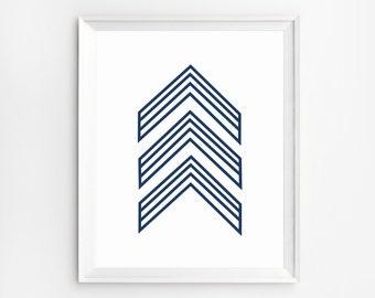 Chevron wall decor, Arrow Wall Art, Chevron arrows, Arrow Poster, Geometric printable, Arrow Printable, Navy Blue Art, Modern art print