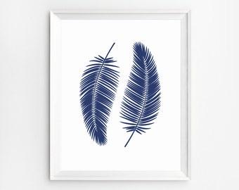 Feather Print, Palm Prints, Leaf Print, Leaves Decor, Leaf Art, Leaf Wall Art, Botanical Print, Wall Art Prints, Palm Leaves Prints