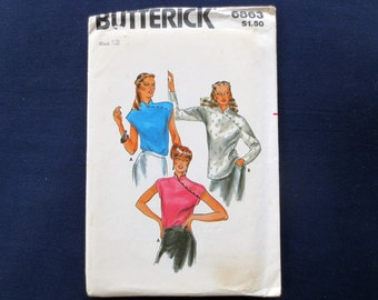 1980s Asian Inspired Top Uncut Vintage Pattern, Butterick 6863, Size 12, Bust 34