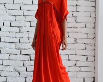 Extravagnt long dress / Long Red Dress / Party dress / Maxi Dress /  Kaftan / V - Shape Neck Dress / Daywear dress by METAMORPHOZA