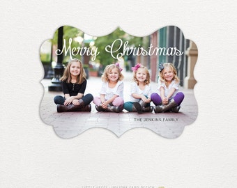 Personalized holiday cards- photo christmas cards- ornate die-cut- merry christmas