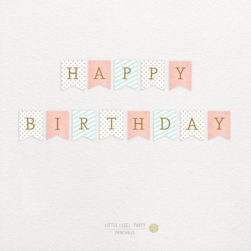 happy birthday banner coral aqua gold pink blue gold. Black Bedroom Furniture Sets. Home Design Ideas