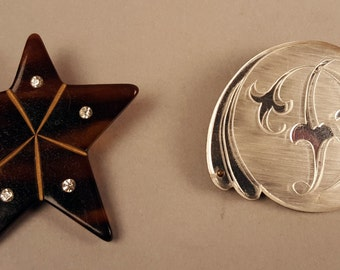 Two Vintage Pins Brooches, Plastic Star with Rhinestones and Mirror Backed Pin with Carved Plastic Top, 1940s Forties, 1930s, Thirties