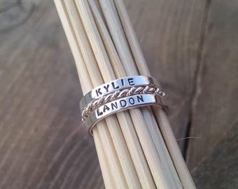 Stackable Mothers Name Rings Personalized Name Rings Stacking Name Rings Mothers Rings Sterling Silver Personalized Ring Custom Name Ring
