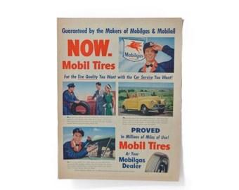 Petroliana 1947 Mobiloil Mobilgas Mobil Tires Ephemera Advertisements Ads Old Vintage Classic Retro Magazine Newspaper Images Ready Wall Art