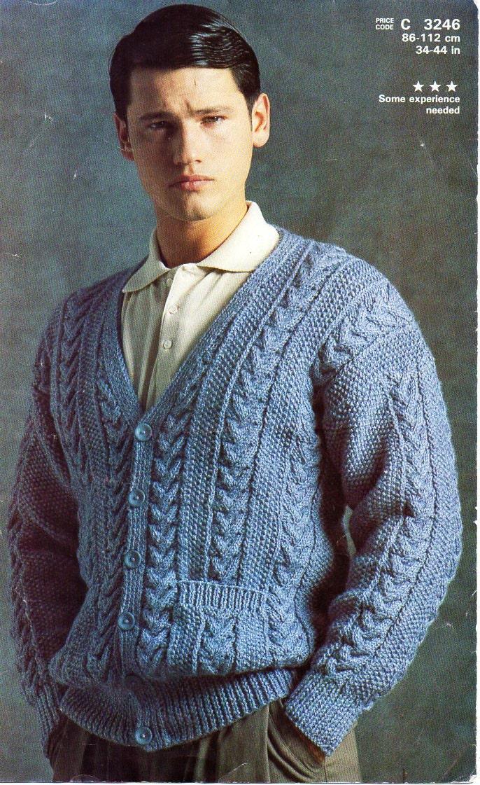 Mens Aran Cardigan Knitting Pattern Pdf Mens Aran Jacket V