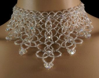 Swarovski crystal beaded bridal fringe choker. Swarovski crystal + Preciosa silver beaded fringe choker. Swarovski wedding statement choker