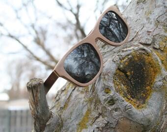 Recycled Skateboard Gray Lens Wayfarer polarized wood sunglasses. Hand Made. Wedding Sunglasses.