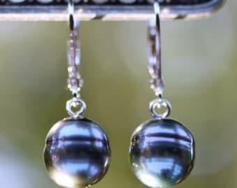 Sterling Silver Dark Grey Cultured Tahitian Pearl Dangle Earrings, Baroque Style