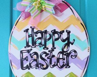 SimplyaDOORable Spring Chevron Easter Egg Wood Door Hanger!  Easter Egg Decor, Easter Decor, Easter, Egg Wood Door Hanger, Easter Wreath