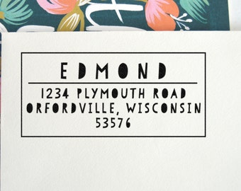 Playful Address Stamp   Return Address Stamp   Self Inking   Wood Block   Custom Rubber Stamp   Return Address Labels   Personalized, No. 82