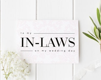 To My In Laws Wedding Day Card, To My In Laws Wedding Day Card, Parents-In-Law Wedding Card, To My Parents In Law, Lace Wedding Stationery
