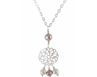 White Wire Wrapping 925 Silver, Pearl Necklace and pink pearls of Culture