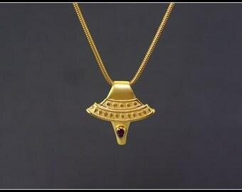 Gold egyptian necklace, gold egyptian necklace with stone, antique gold pendant, egyptian jewelry, handmade jewelry, rhodolite