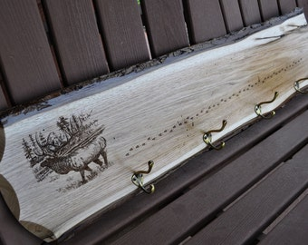 Gift For Husband ~ Elk Hunting ~ Live Edge ~ Reclaimed Wood ~ Gift For Hunter ~ Hunting ~ Man Cave ~ Elk Hunter Gift ~ Coat Rack ~ Rack ~