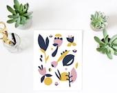 Scandinavian print, floral print, floral pattern, nursery decor, modern art print, art print for kids, minimalist art, nursery print
