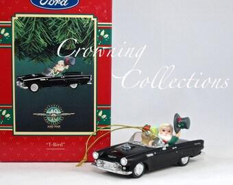 Enesco Ford 1955 T-Bird Thunderbird Treasury of Christmas Ornament 40th Anniversary Black Car Santa Claus Vintage