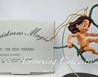 Disney Tarzan Ornament Grolier Christmas Magic Swinging in Vines DCO Vintage Tarzan as a Child Grolier Ornament MIB
