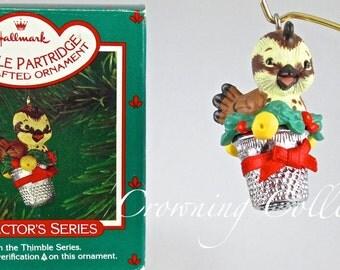 1986 Hallmark Thimble Partridge Keepsake Ornament Bird in a Pear Tree 9th Series #9 MIB