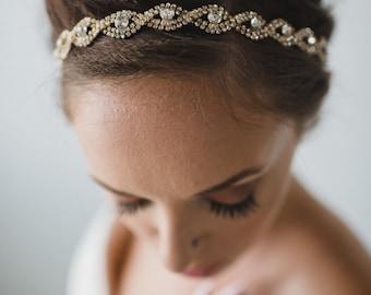 Rose Gold Bridal Headpiece | Gold Bridal Headband | Wedding Hair Accessories | Bridal Hair | Chloe Headband - Rose Gold