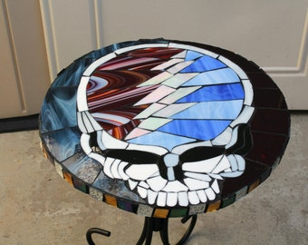 "Grateful Dead Table Top-Steal your Face-17 1/2"" Round-Mosaics-Grateful Dead-Mosaic Tables"