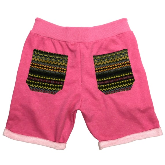 Unisex Comfy shorts - Pink color, Tribal pocket Shorts, Hipster shorts, Casual Summer shorts, Festival Clothing