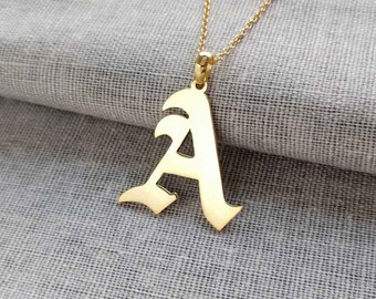 Gold Old English Necklace,Old English Letter Necklace, A-Z Name Necklace,Single Initial Necklace,Personalized Old English Pendant