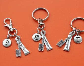 DENTAL TOOTHPASTE and TOOTHBRUSH Keyring,Zipper Pull,Purse Dangle,Initial or Number,dentist,dental assistant,dental hygienist,dental,1552