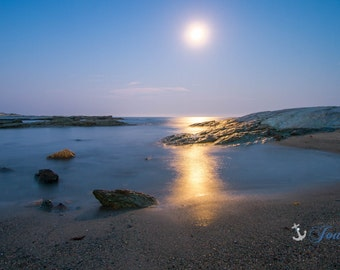 Full Moon ~ Ocean Drive, Newport, Rhode Island, Beach, Photography, Coastal, Decor, Wall Art, Nautical, Seascape, Ocean, Photograph,Joules