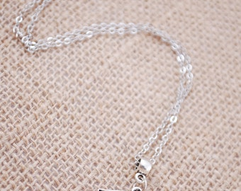Evil eye silver tone necklace, Eprotection necklace, egyptian revival, everyday simple minimalist jewellry