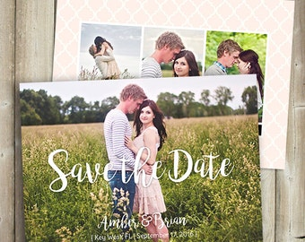 Save The Date - Wedding Announcement - Engagement Announcement - Front & Back With Photos - DIGITAL FILE