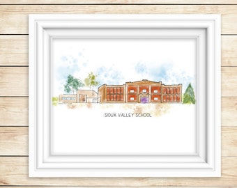 SIOUX VALLEY SCHOOL Watercolor Print  Sioux Valley Minnesota Mn Historic Art Print Lakefield, Mn