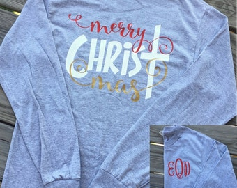 Monogrammed Merry CHRISTmas Long Sleeved Shirt. Christmas Shirt. Christmas Party Shirt. Tacky Christmas Party.