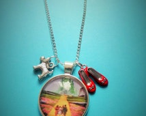 """The Wizard of OZ - Yellow Brick Road - Dorothy - 25mm / 1"""" Glass Dome Necklace & Charms - Fan Gift - Xmas"""