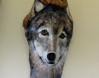 The Wolf Again... Painted Palm Frond