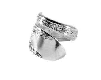 Spoon Ring, Rose & Leaf (1937 Silverplate) By National Silver Co spoon Ring, Silver Spoon Jewelry, Adjustable, Handmade, Wedding