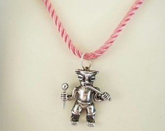 Aztec Man, Sterling Silver with Silk Cord Necklace, Vintage