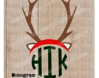 Christmas SVG - Christmas antler monogram svg - Reindeer Cut Files - Cricut, Silhouette - Svg - Dxf - monogram not included - Reindeer svg
