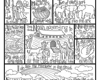 Noahs Ark Coloring Page In Three Sizes 85X11 8X10 Suitable For Framing
