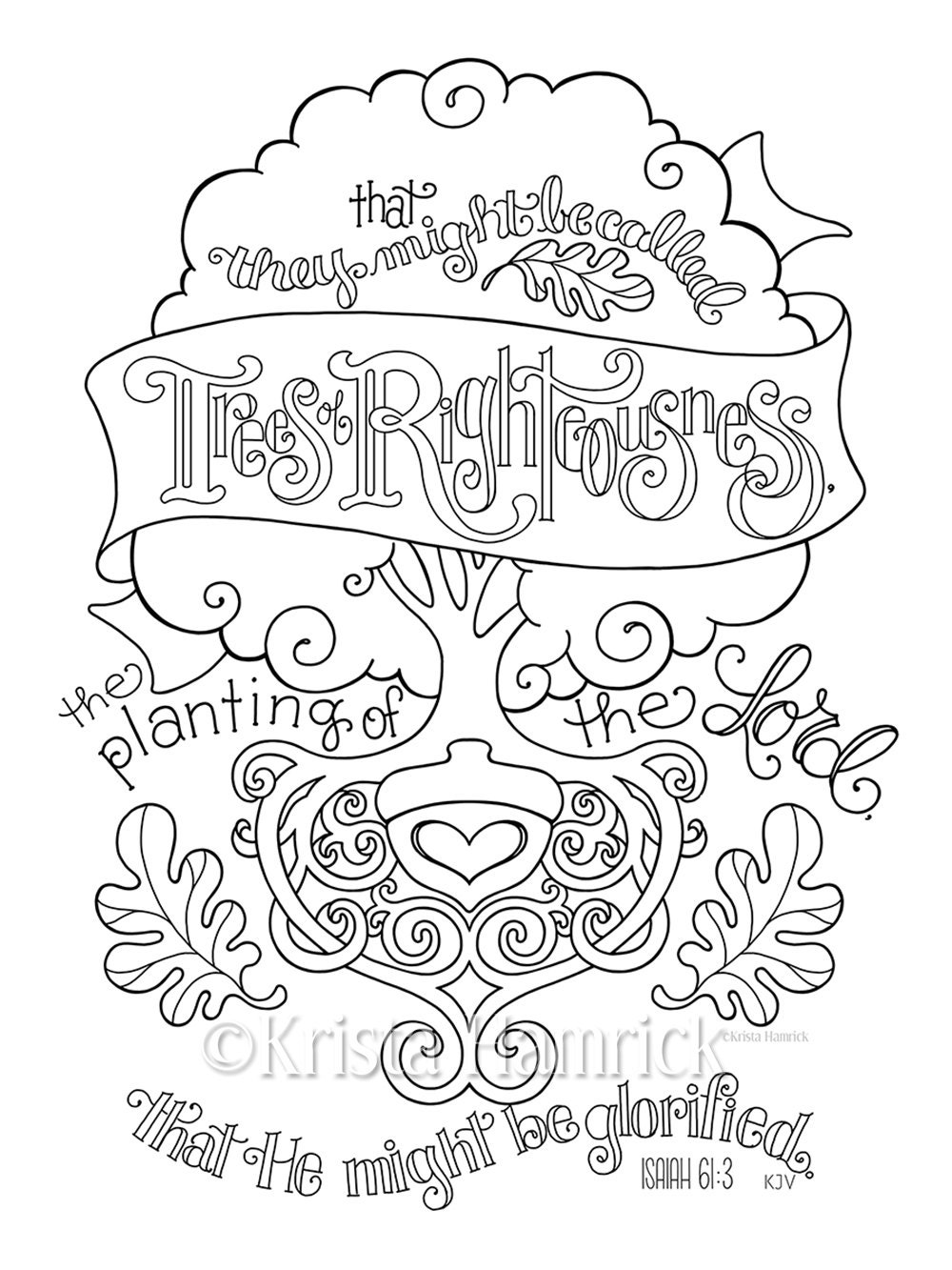 Trees Of Righteousness Coloring Page 8 5x11 Bible