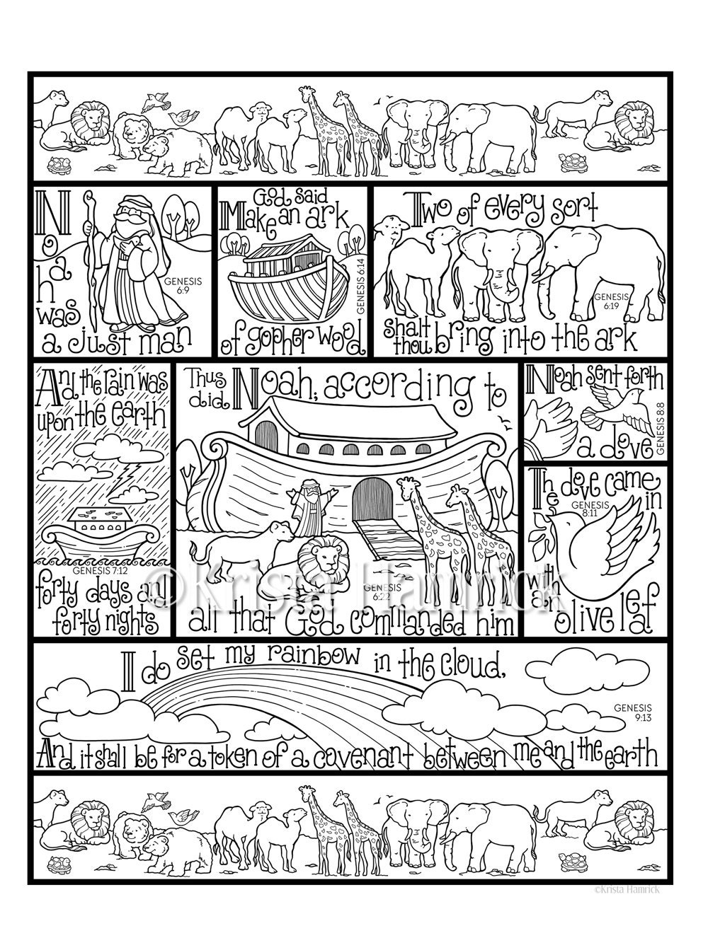 Noah 39 s ark coloring page in three sizes 8 5x11 8x10 for Noah ark coloring page