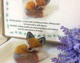 Needle Felt Sleeping Fox kit - beginner/ intermediate - The Wishing Shed - Decoration / Ornament Gift