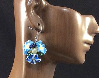 Aqua flower earrings, Blue flower earrings, dangle earrings, flower dangle earrings, Aqua flower earrings, statement earrings