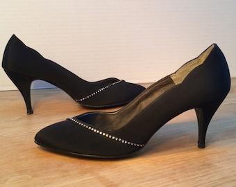 Sugar Black Evening Shoe, Vintage Women's Shoes, Black Rhinestone Trim Pumps, Size US 8.5M, Style No. 1569
