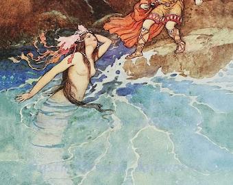 "Warwick Goble ""Appearance of a Mermaid"" 1913 Reproduction Digital Print Mermaid Ocean Folklore"