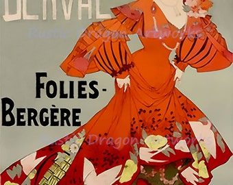 "Jane Derval ""Folies Bergere"" Reproduction Digital Print Vintage Print Wall Hanging"
